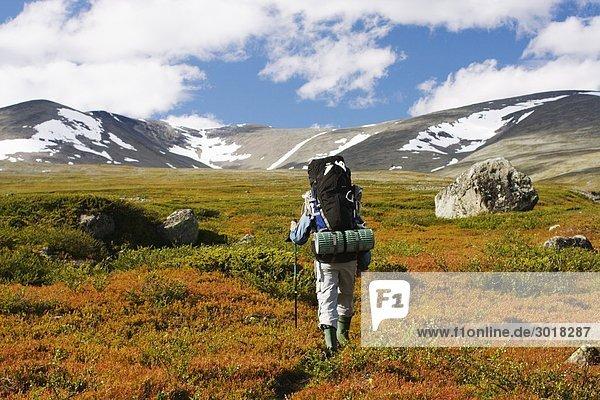 Berg gehen Sommer Rucksackurlaub Schweden