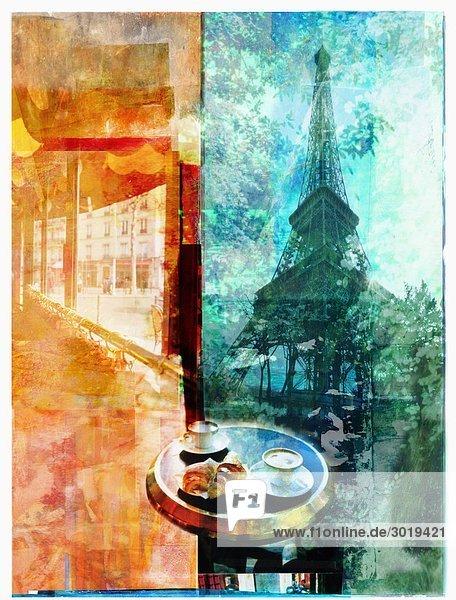 Eiffelturm und Café