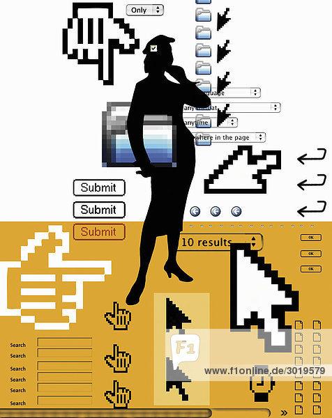 Abstrakte Frau mit Internetsymbolen