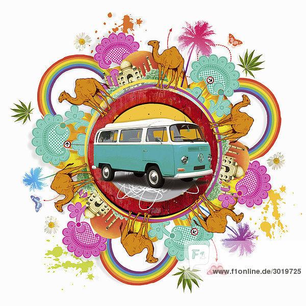 VW-Bus umgeben von Indien-Bildern VW-Bus umgeben von Indien-Bildern
