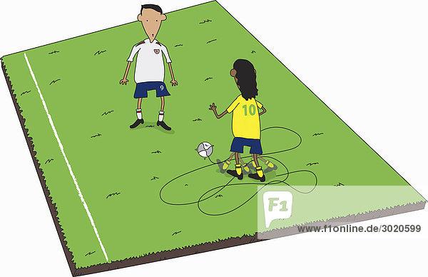 Zwei Fußballspieler auf Fußballplatz