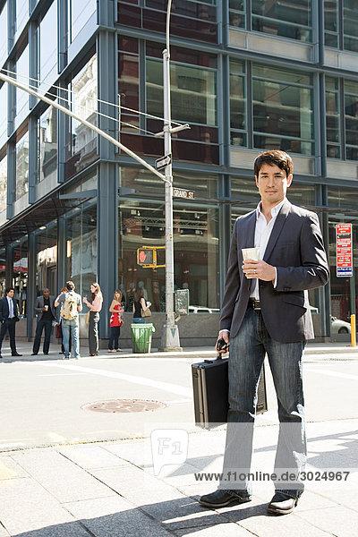 Male office worker on the street