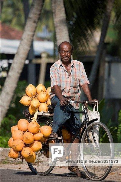 Coconut Salesman on his Bike  Galle  Sri Lanka