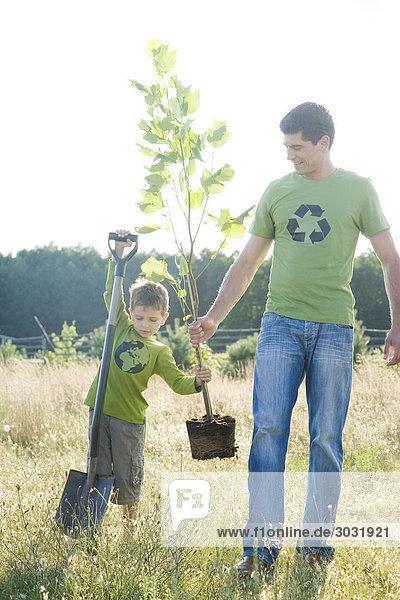 Vater mit Sohn einen Baum gepflanzt