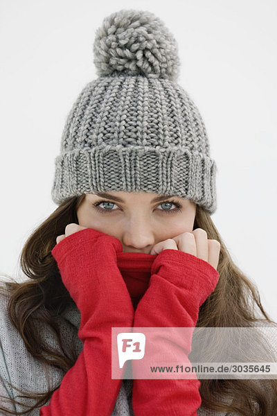 Portrait of a woman wearing warm clothing