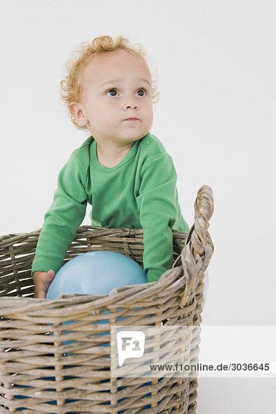 Kleiner Junge  der einen Ballon aus einem Weidenkorb pflückt.