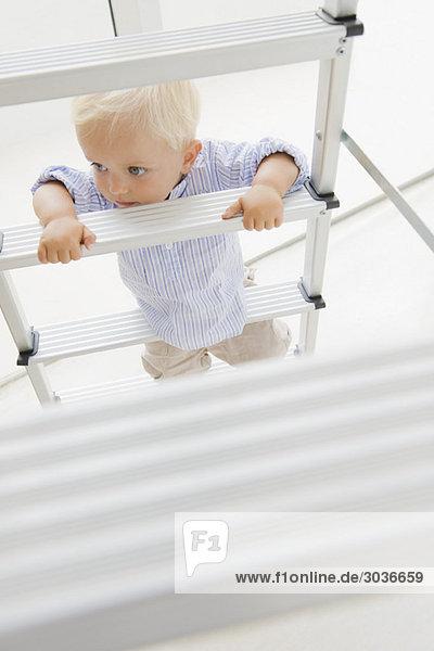 Baby Junge klettert auf eine Stufenleiter