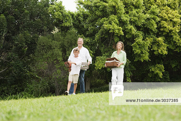Family enjoying picnic in a park