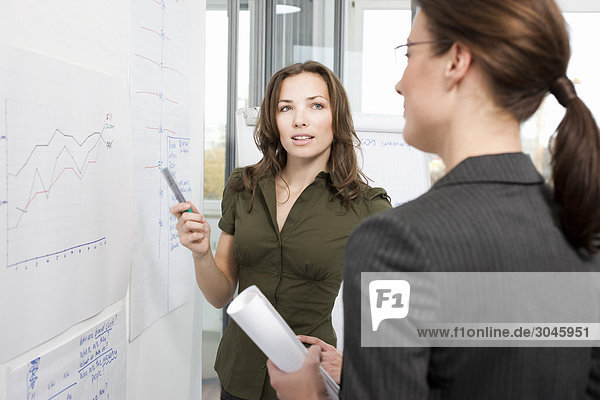 two businesswoman having discussion in front of whiteboard