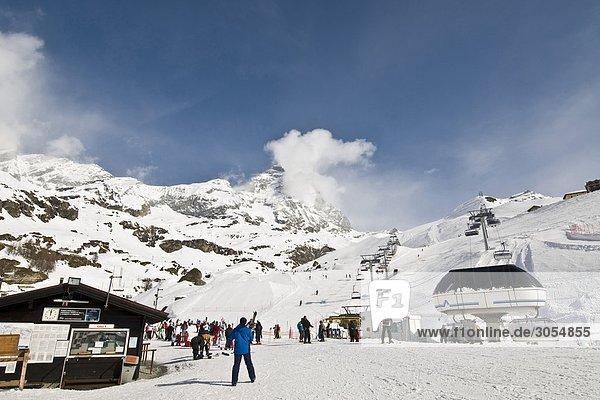 Skipiste Piste Breuil-Cervinia Aostatal Italien
