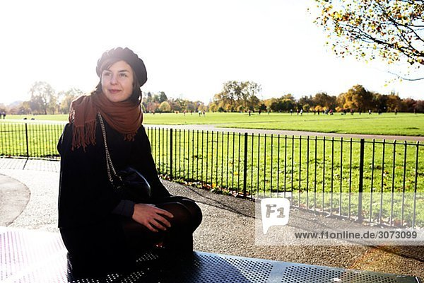 A woman in Hyde Park London Great Britain.