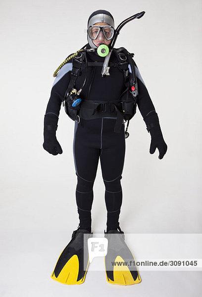 Portrait of a scuba diver  studio shot