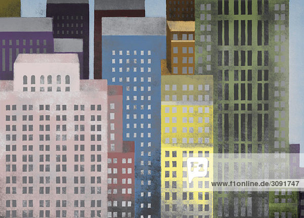 Lebendige farbige Wolkenkratzer