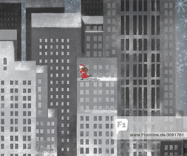 Weihnachtsmann läuft auf einem Wolkenkratzer