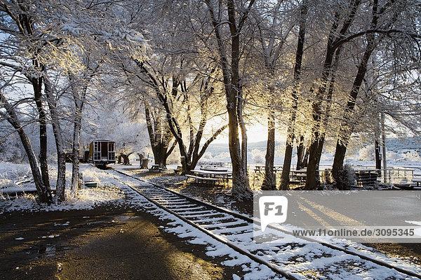 Railroad tracks in winter  Santa Fe  New Mexico  USA
