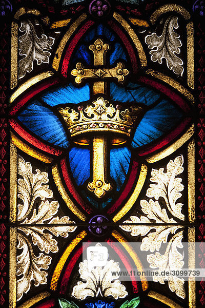 Details of a stained glass in a church  St. Mary's Cathedral  Chinatown  San Francisco  California  USA