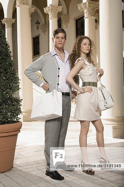 Portrait of a couple in a hotel  Biltmore Hotel  Coral Gables  Florida  USA