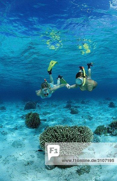 Zwei junge Frauen beim Schnorcheln  Bali  Indischer Ozean  Unterwasseraufnahme