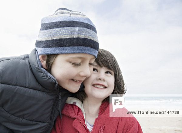 Boy & girl hugging