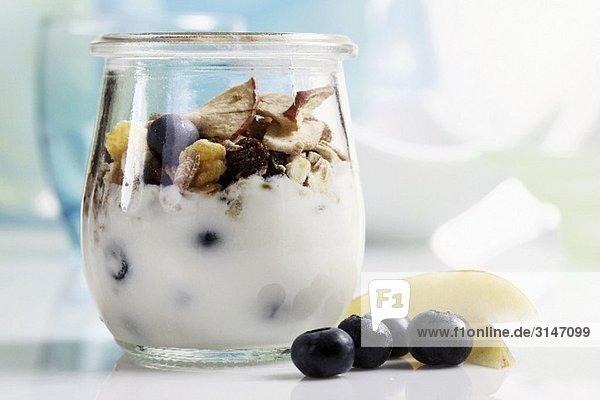 Joghurtmüsli mit Heidelbeeren und Trockenfrüchten