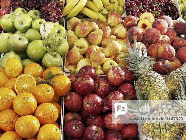 Verschiedene Früchte in Steigen am Markt