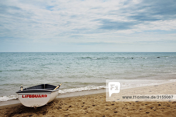 Lifeguard boat on beach  Lake Ontario  Ontario