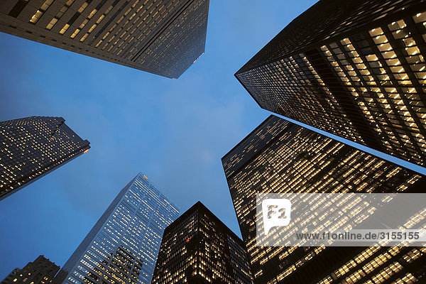 Underview of bank towers in financial district at dusk  Toronto  Ontario