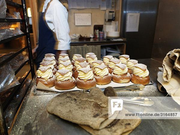Creme Brötchen mit Mandelpaste  Schweden.