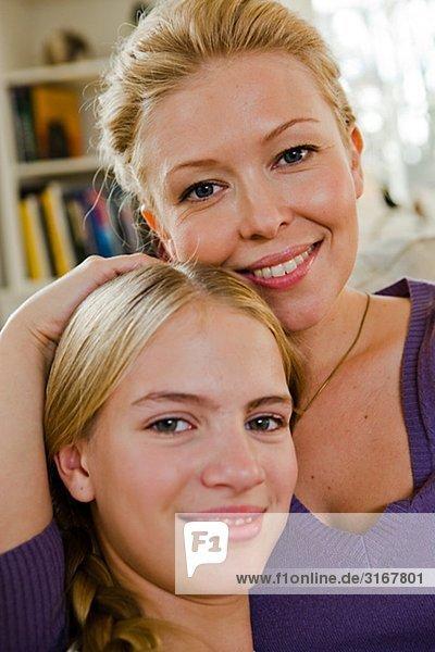 Portrait of a Scandinavian mother and daughter  Sweden.