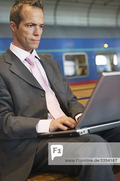 Kaufmann mit seinem Laptop  Schweden.