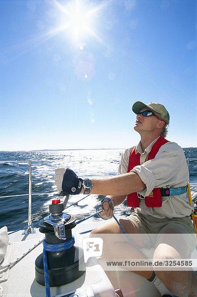 Segeln Mann Boot Meer