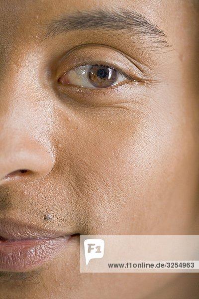 Ein Mann ¥ s Gesicht  Nahaufnahme.