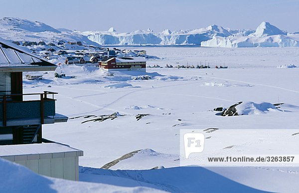 A city in the snow  Greenland.