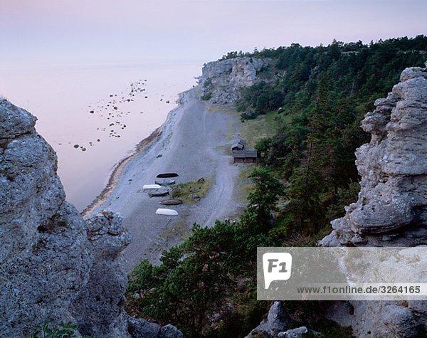 View of a sandy beach  Gotland  Sweden.