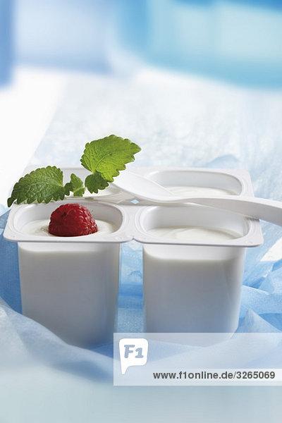 Vier offene Joghurtbecher mit Obst und Minzblatt  Nahaufnahme