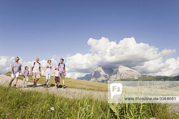 Italy  Seiseralm  Family hiking