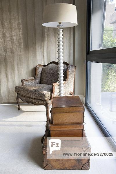Interieur aus einem Wohnzimmer  Madrid  Spanien