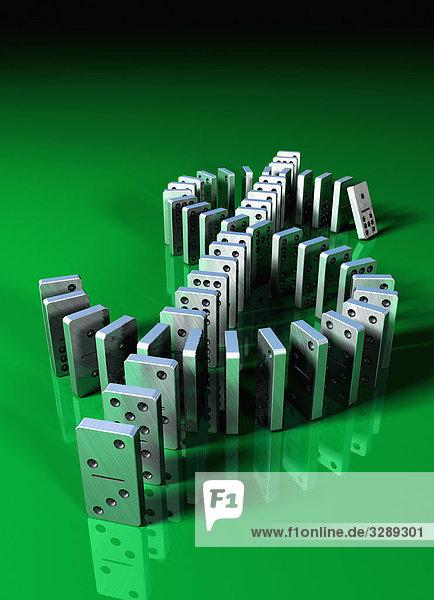 Dominosteine bilden Dollarsymbol