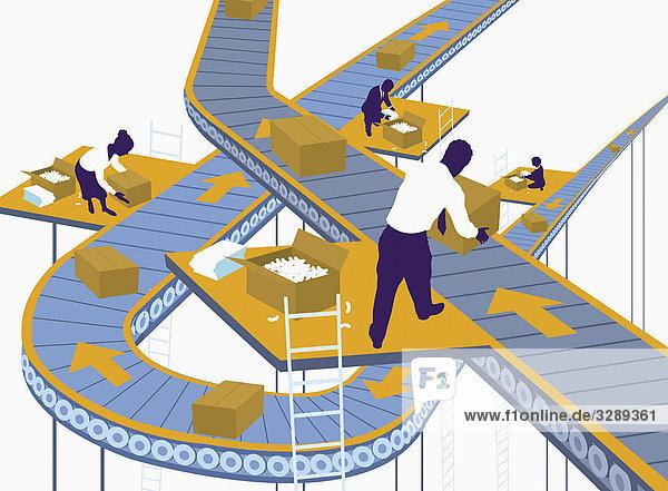 Geschäftsleute arbeiten am Fließband