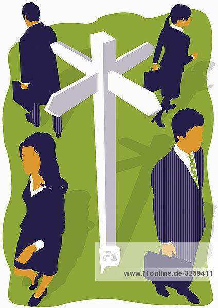 Geschäftsleute an einer Kreuzung