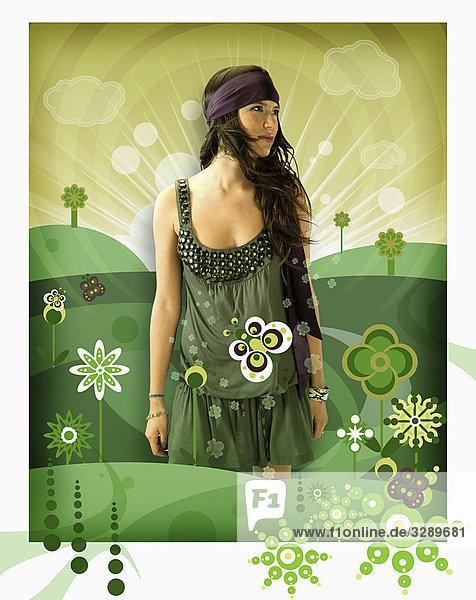 Frau in grünem Feld Frau in grünem Feld
