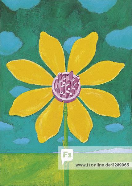 Stadtansicht in blühender Blume