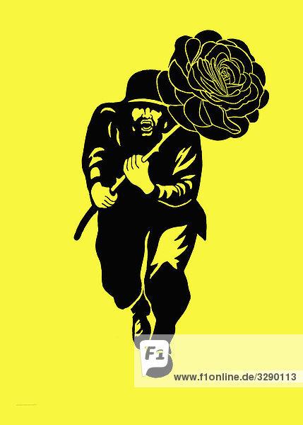 Mann rennt mit großer Rose Mann rennt mit großer Rose
