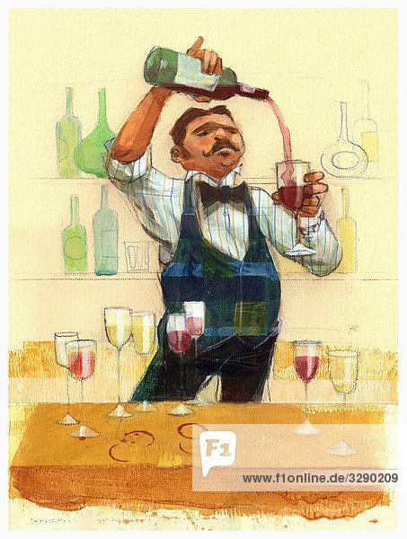 Kellner gießt Rotwein in Glas