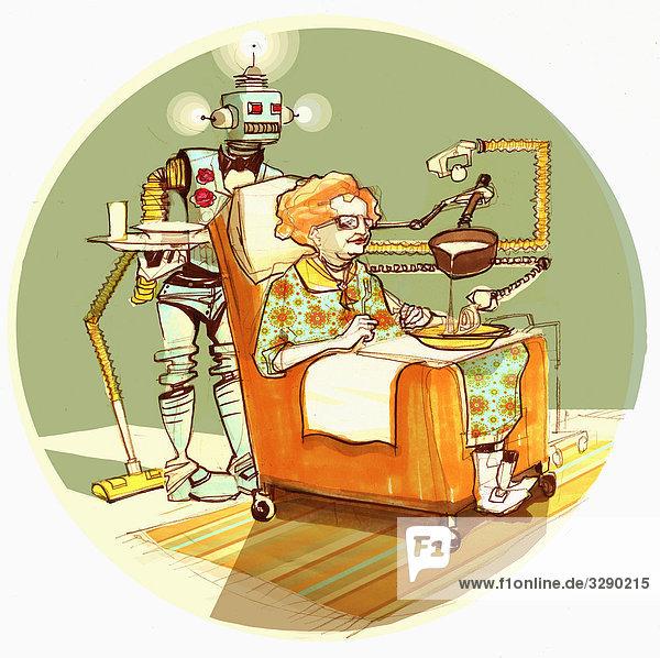 Roboter serviert alter Frau Suppe