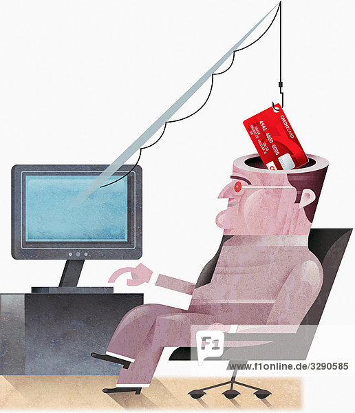 Mann am Computer wird Kreditkarte gestohlen