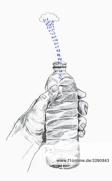 Regenwolke regnet in Flasche