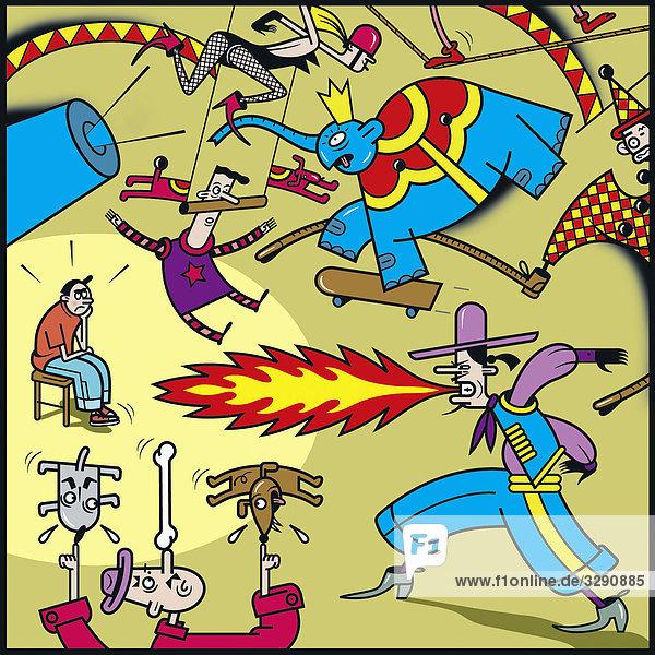 Gelangweilter Junge im Zirkus Gelangweilter Junge im Zirkus