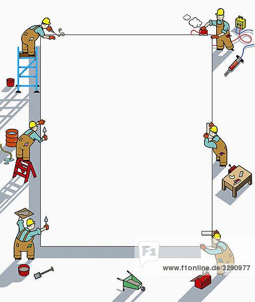 Arbeiter arbeiten an leerem Schild