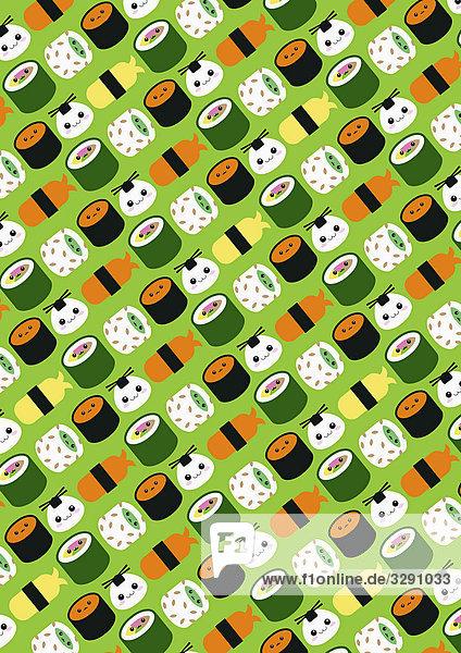 Sushi in dekorativem Design